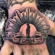 lest we forget tattoo idea for men on hand one of the best anzac