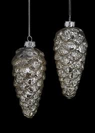 antique shiny silver mercury glass pinecone tree