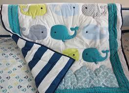 whales 7pc nursery crib bedding set newborn baby boy cot bedding