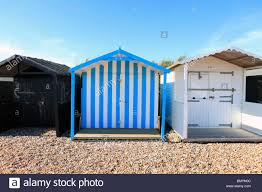 united kingdom west sussex rustington beach huts stock photo