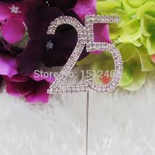25 cake topper aliexpress buy silver rhinestone diamante number 25