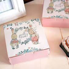 cookie box favors lovely rabbit decoration square cookie box bakery package boxes