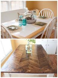 tile table top makeover from tile top to herringbone table makeover diy wood herringbone