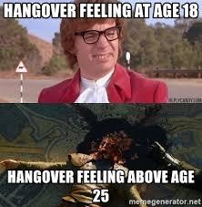 Hangover Meme - hangover feeling at age 18 hangover feeling above age 25 jesbu