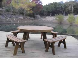 Wooden Picnic Tables With Separate Benches Octagon Picnic Tables Made By Quality Patio Furniture