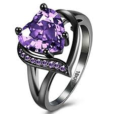 amethyst heart rings images Fendina women 39 s 18k black gold plated wedding jpg