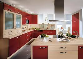 beautiful kitchen cabinet red and brown kitchen cabinet with modern hood for catchy look