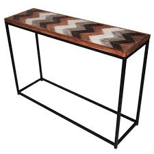 wood and metal console table distressed wood metal console table temple webster
