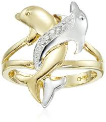 dolphin engagement ring 10k two tone gold accent intertwined dolphin