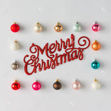 merry christmas sign colorful christmas baubles decoration with merry christmas sign