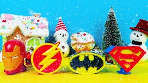 christmas avengers u0026 justice league surprise eggs in snowing town