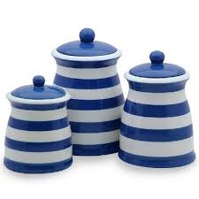 blue and white kitchen canisters royal blue white striped ceramic kitchen canister set