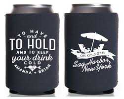 wedding personalized koozies to and to hold chairs personalized wedding koozies