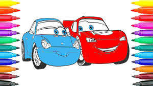 how to draw cars 3 lightning mcqueen and sally carrera coloring