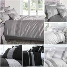 luxury kimberley diamante duvet quilt cover bedding sets black