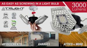 led garage light bulbs striker trilight motion activated garage ceiling light youtube