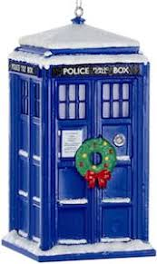 snow covered tardis ornament go doctor who