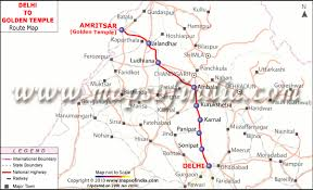 gt cus map delhi to amritsar route map delhi to golden temple route map