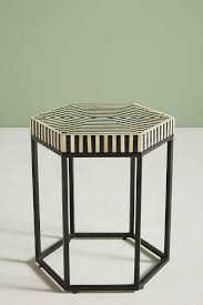 bone inlay side table black white bone inlay side table