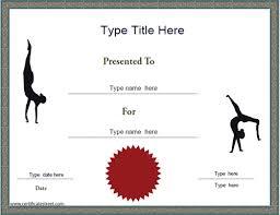 sports certificate gymnastics achievement certificate template