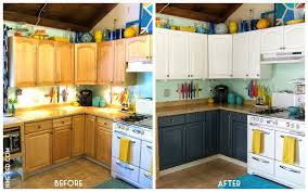 How To Repaint Kitchen Cabinets White Painting Oak Kitchen Cabinets White Before And After Nrtradiant Com