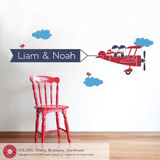 twin wall decal etsy airplane wall decal twin seater name banner sibling decor boy girl nursery playroom decations