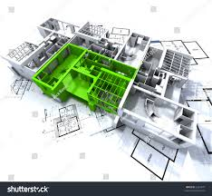 apartment highlighted green on white architecture stock