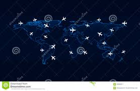 Flight Routes Map by Light Blue World Map With Flight Routes Airplanes On Blue Backgr