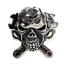 mechanic wrench cross skull ring sterling silver biker ring
