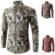 2018 2017 luxury men shirt brand printed chemise homme long sleeve