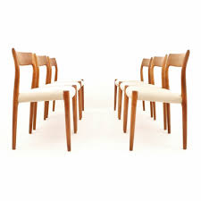danish design teak dining chairs in creme white fabric by niels