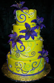 blue purple and neon green wedding cakes neon yellow cake