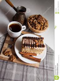 plate with chocolate cake and coffee stock photo image 61676937
