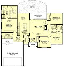 Single Story Open Floor Plans Small House Plans Free Bedroom One Story With Bat Home Bonus Room