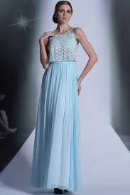 high neck shoulder straps light blue prom dress with illusion top
