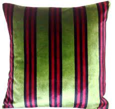 Red Decorative Pillow Cushion Cover Osborne And Little Velvet Fabric Salon Stripe Green