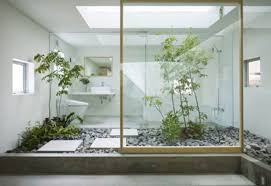 Glass Wall House by Modern Design House In Japan With Floral Park Home Interior