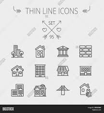 thin line icon set for web and mobile set includes museum