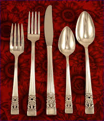 oneida community plate coronation art deco silverware set vintage
