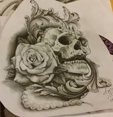 grey ink skull with design