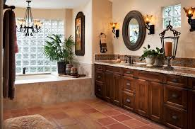 mediterranean master bathroom with high ceiling by