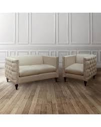 Dark Blue Loveseat Get The Deal 10 Off Tufted Linen Tuxedo Chair And Loveseat Set