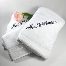 His And Hers Bathroom Set by Embroidered His U0026 Her Bath Towels With Face Washers Wedding Gift