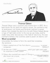 historical heroes thomas edison worksheet education com