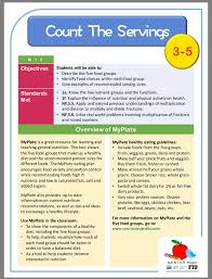 general nutrition math lesson plan for grades 3 5 general