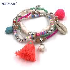 beaded chain bracelet images New bohemia boho bracelet pink tassel pompom charms bracelets jpg