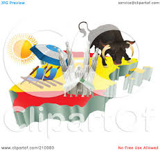 royalty free rf clipart illustration of 3d spanish tourist