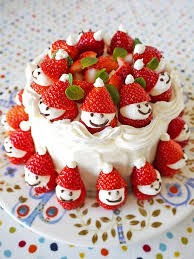 strawberry santa cake use black sesame seeds for the eyes it
