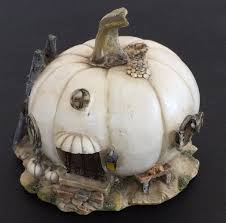 fairy garden white pumpkin statue miniature pumpkin harvest