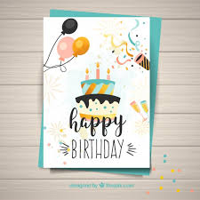 template for happy birthday card vector free download